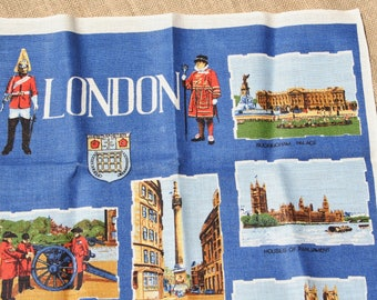 Vintage Tea Towel Souvenir Towel London England Scenes Blue