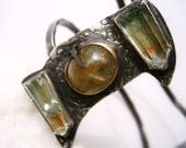 Garden Quartz Crystal Specimen/Phantom Quartz Points/Rutilated Quartz Cabochon/Butterfly Wing Cuff Bracelet