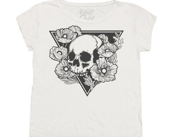 Hereafter - Slouchy Tee - Made in the USA, skull, poppies, flowers, gypsy, boho, graphic tee
