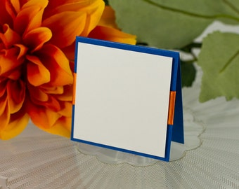 Blank, Square, Double-Layered, Ribbon-Banded Seating Card