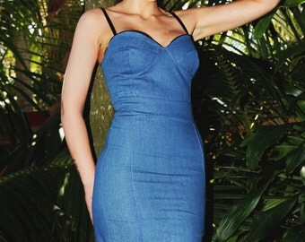 Bonita Blue Denim Wiggle Dress