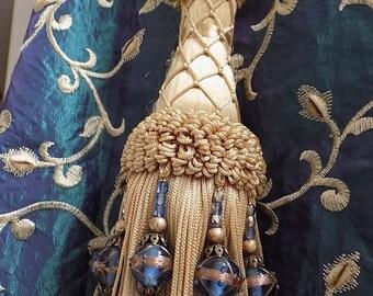 on sale SET OF 2 Luxury vintage golden tassel drapery holders with Venetian blue vintage glass lampwork glass beads