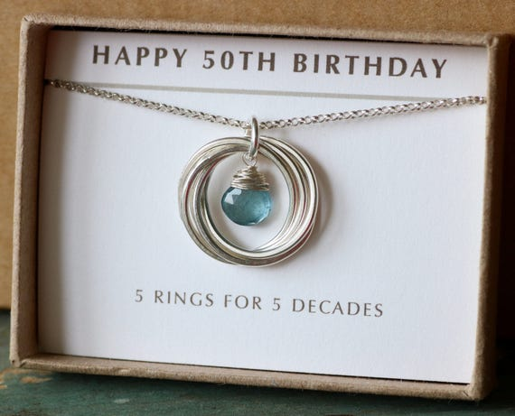 50th Birthday Gift For Her Aquamarine Necklace March