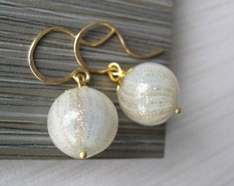 Gold Dangle Earrings - Bridal Jewelry, 14K Fill, Glitter, Sparkle, Bubble Glass, Wedding Accessory, Ivory