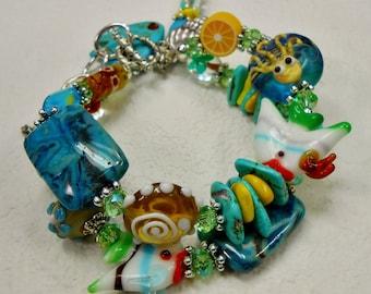 BEACH CRUISE BRACELET / Summertime Bracelet / Two Strand Beach Bracelet /Statement Bracelet / Cruise Bracelet - *Cruising For A Good Time*