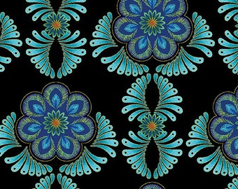 Rhapsody from Kanvas Studios for Benartex - Flower Rosettes Medallions in Blue and Green with Gold Metallic on Black