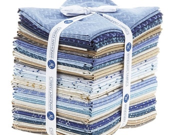 Atlas by Another Point of View from Windham Fabrics - 30 Fat Quarter Modern Bundle in Blues and Tans