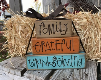 Ready To Ship fall thanksgiving frateful wood stacking block set home decor seasonal autumn pumpkin
