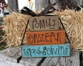 fall thanksgiving grateful wood stacking block set family home decor seasonal autumn pumpkin