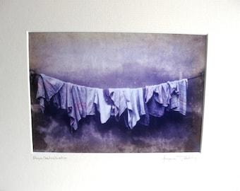 Prague Czechoslavakia Original Art Photography Matted for 8x10 Moody Scene of Laundry Hanging