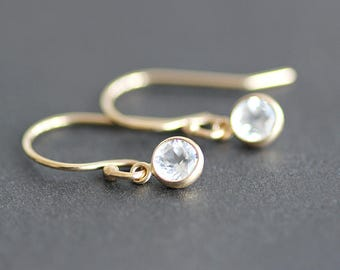 Earrings - 14K Gold with 4mm White Topaz Bezel Drops - Solid 14K Gold Ear Wires - Bridal Jewelry