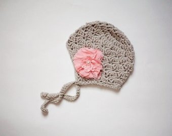 Crochet Grey Baby Earflap Hat, Crochet Baby Hats, Baby Girl Hats, Newborn Hat, READY TO SHIP