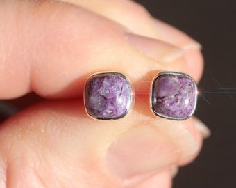 Evening Sky - Charoite Sterling Silver Earrings