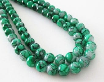 """Green Marbled Porcelain Beads - Smooth Round Porcelain Beads - Drilled Green Glass Beads - 8mm - 16"""" Strand - St. Patrick Diy Jewelry Making"""