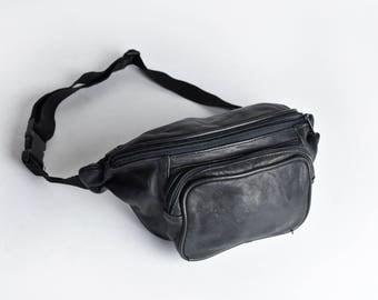 Vintage Black Leather 3-Pocket Fanny Pack with Adjustable Nylon Strap