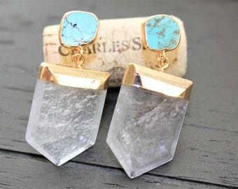 Turquoise Earrings Quartz Earrings Turquoise Jewelry Boho Earrings Boho Jewelry Clear Quartz Earrings Natural Quartz Tribal Earrings Shield