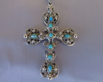 Vintage Cross Necklace Silver tone and faux turquoise stone cross necklace