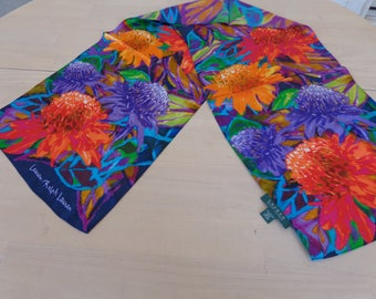 Lauren Robert Lauren Signed Silk long brightly flowered BEAUTIFUL Scarf  53 x 12 1/2 inches