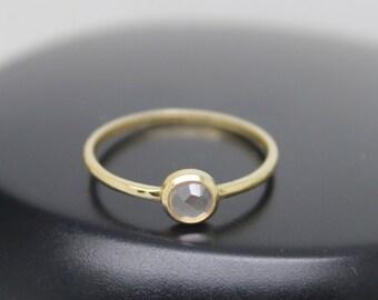 Rose Quartz Ring, Rose Cut Rose Quartz, 18k Solid Gold Ring, Thin Gold Ring, Stacking Ring, Stackable Ring