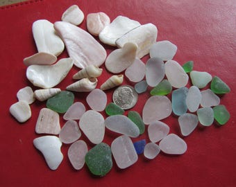 Small Lot of Surf Tumbled Glass And Shells For Crafts