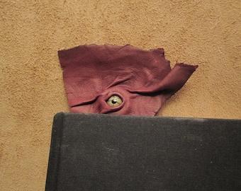 Grichels leather bookmark - dark burgundy with green star eye