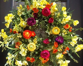 Colorful Spring Wreath, Wreaths For Spring, Floral Door Wreath, Ranunculus Wreath, Hanging Flower Wreath, Spring Door Wreath