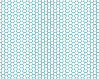 SALE Riley Blake White Dot Honeycomb on Aqua Cotton Fabric FREE SHIPPING