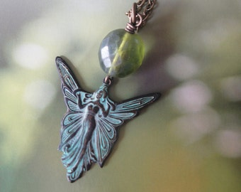 Fairy Goddess/ Earth Mother/Woodland Sprite  Verdigris Charm Necklace