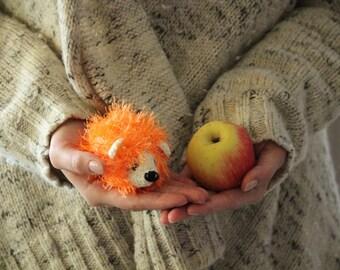 Crochet Little Fluffy Hedgehog, Crochet Childrens Toy, Orange Fluffy Hedgehog Toy, Crochet Amigurumi Hedgehog Toy, Crochet Baby Hedgehog