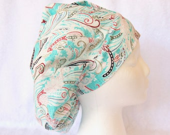 Bouffant Scrub Hat for Woman, Surgical Scrub Cap, Ties into a Ponytail Scrub Hat. Paisley on Turquoise, White, Red