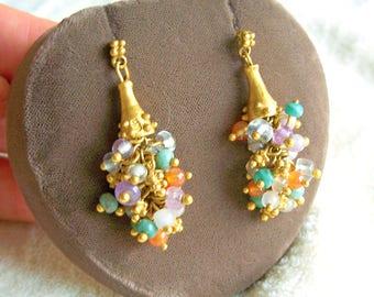 Bronze Semi Precious Stone Dangle Cluster Earrings Knobby Brass Vintage Artisan Signed