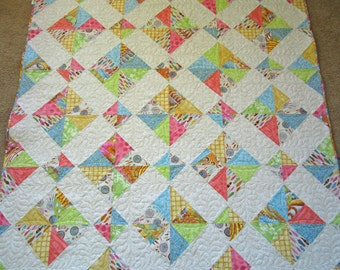 Cottage Quilt, Pastel Quilt, Homemade Quilt, Handmade Quilt, Lap Quilt,  Home Decor , Quilted Throw, Pieced Quilt, Girl's Quilt, Patchwork