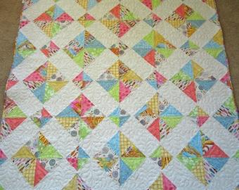 Cottage Quilt, Pastel Quilt, Homemade Quilt, Handmade Quilt, Lap Quilt,  Home Decor , Quilted Throw, Pieced Quilt, Girl's Quilt, Patchwork