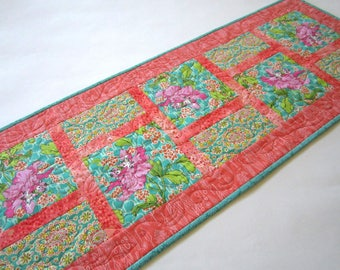Quilted Table Runner, Table Runners Handmade, Spring Table Runner, Floral Table Runner, Handmade Table Runner, Coral Teal Runner,