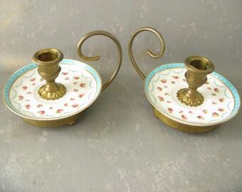 Vintage Brass Ceramic Candle Holder set, two candlestick holders, cottage chic, home decor,,