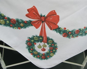 Vintage Christmas Tablecloth, white cotton, rectangular, red green, print