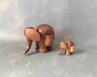 Vintage Wood Elephant, teak, set, danish, modern