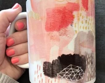 Pink and Gold Abstract Mug