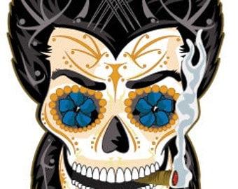 """Wolverine """"Logan"""" Unmasked Sugar Skull 3x4 Vinyl Sticker"""