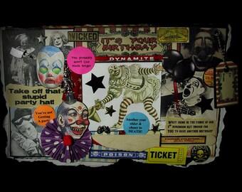 Birthday Card, Scary Clown Card, Creepy Clown Card, Clown, 93, Vintage Clown Images, Circus Clown, Creepy Decoration,  Birthday Greeting