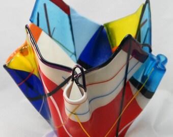 Fused Glass Vase - Multicolored Handkerchief Vase