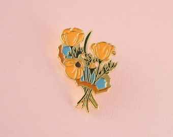 Golden Poppies Enamel Pin