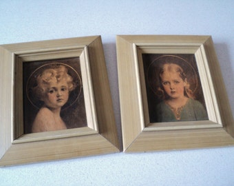 Jesus and Mary as Children Pair Small Framed Prints C. Bosseron Chambers Mary Most Holy The Light of the World