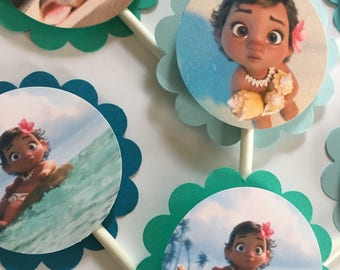 "30 ""Moana"" Party Cupcake Toppers *Ready to Ship*"