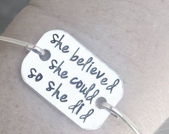 Personalized Hand Stamped she believed she could so she did bangle