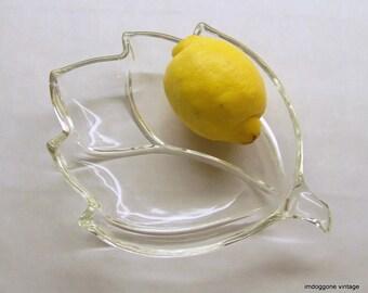 Clear Glass Leaf Shaped Dish, Leaf Shaped Clear Utility Dish, Leaf Shaped Glass Relish Plate, Leaf Shaped Vanity Dish