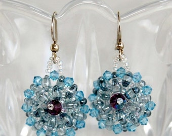 Holiday Sale Blue Crystal Button Earrings
