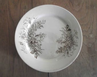 Brown Transferware Plate Aestetic Period Plate Vintage Ironstone Farmhouse Chic
