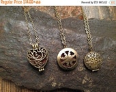 Black Friday Sale Essential Oil Diffuser Necklace , Antique Bronze or Silver Celtic Filigree Locket with 12 wool felt pads-Aromatherapy Neck