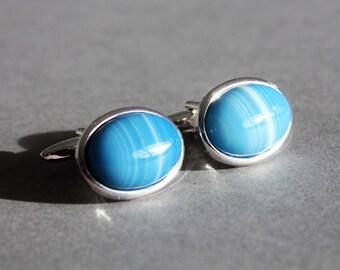 blue striped agate gemstone cufflinks, pale blue gemstone cuff links